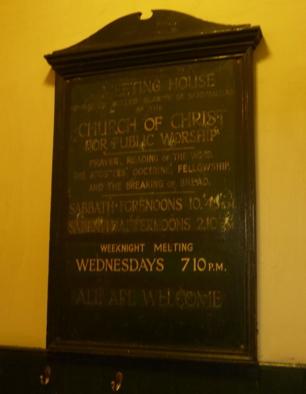 A Church Plaque at the old Glasite Meeting House in Edinburgh, Scotland
